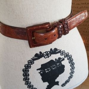 Brighton Leather Croc Loved Patina USA Belt M 34""